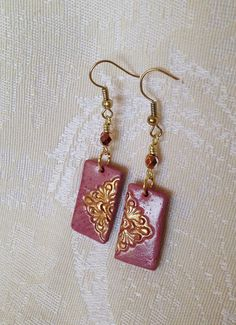 Handmade Polymer Clay Earrings Pink Gold Peach от CLINKeCreations