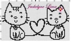Etamin Cross Stitch Boards, Cross Stitch Love, Cross Stitch Alphabet, Cross Stitch Patterns, Knitting Charts, Baby Knitting, Sewing Stitches, Stitch 2, Cat Pattern