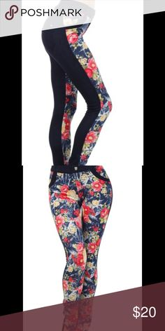 """Two-Tone Jeggings with Floral Print Monterey Two-Tone Jeggings w/ Floral Print. 2""""  Soft Waistline along with Tonal Belt Loops & Nice Pocket Llares.   Rhinestones Embellishments on the Front and Back Pockets Size: S/M or M/L 60% Cotton, 30% Polyester 10% Spandex Pants Leggings"""