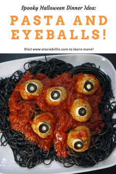This fun Halloween dinner idea never gets old. My nearly still loves his annual bowl of pasta and eyeballs! Halloween Dinner, Spooky Halloween, Black Pasta, Black Bean Spaghetti, Snack Recipes, Snacks, Spaghetti And Meatballs, Homemade Halloween, Specialty Foods