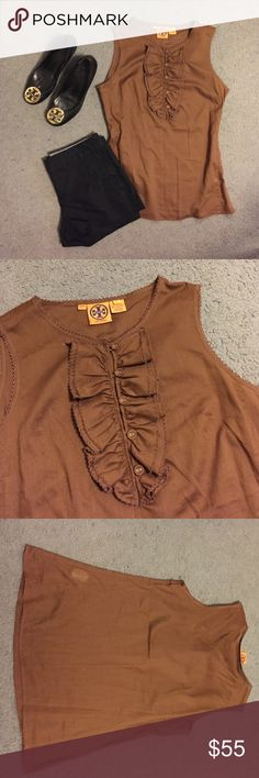 Tory Burch Brown Top Good used condition. Super cute for work or casual wear. Side zip closure. Open to offers! Tory Burch Tops Blouses