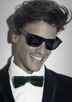 Ray-Bans and a green velvet bowtie. Gotta love this.