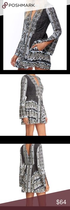 NWT! Free People Tegan Minidress Tunic 0 Flared, artfully printed minidress or tunic with plunging neckline. V-neck, bell sleeves, front slash pockets, partially lined, Machine wash cold, line dry. Black, white, pale blue Free People Dresses