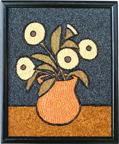 me ~ [Lisa Legge Orange Vase image] Seed Craft, Seed Bead Art, Egg Shell Art, Mosaic Art Projects, Montessori Art, Art Drawings For Kids, Elements Of Art, Dot Painting, Art Classroom