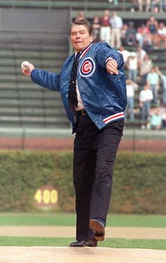 Ronald Reagan opens the 1988 season at Wrigley Field