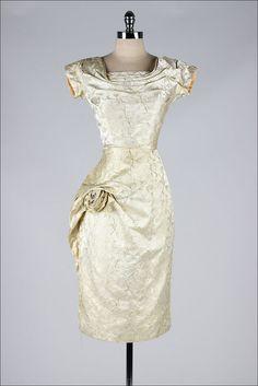 vintage 1950s dress . metallic gold brocade . by millstreetvintage