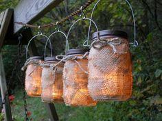 Burlap Mason Jar Hanging Outdoor Lights - 20 Decorative Handmade Outdoor Lighting Designs