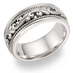 WANT THIS ONE TOO... JUST GORGEOUS..  in place of diamonds... applesofgold.com - 14K White Gold Paisley Wedding Band