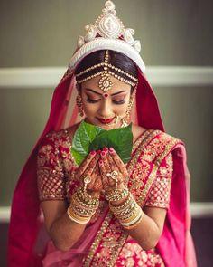 Bengali Bridal Makeup, Bengali Wedding, Bengali Bride, Hindu Bride, Bengali Saree, Kerala Saree, Indian Makeup, Indian Beauty, Bridal Poses