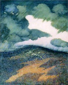 Marsden Hartley (1877 - 1943) | Pointillism, Regionalism | Storm Clouds, Maine -1906