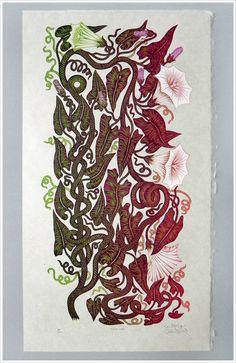 """""""SNAKE VINE"""" 20.5"""" x 11"""" Woodcut Print on Natural Kitakata Paper Valerie Lueth + Paul Roden, 2013.  $125.00"""