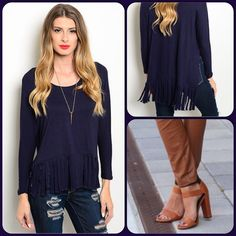 Fringe Navy Top This adorable knit top features fringed hem, long sleeves and rounded neckline. Last one available. 65% Rayon, 35% Viscose. (This closet does not trade or use PayPal ) True Light Tops Tunics