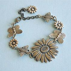 Sunflower Charm Bracelet Silver Butterfly Bee by mcstoneworks