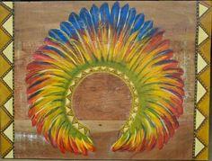 Painel em madeira de demolição / pintura de cocar indígena dimensão: 80cm x 60cm