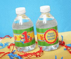 BabyFirst TV Personalized Water Bottle Adhesive Labels. My creative design work and high end print press is a winning combination. Attention to detail and superb customer service will ease the stress of planning your baby's first birthday party. Personalized party packs available for all themes at www.acc123.com Click on the link to my one stop party shop now! 15 labels for $16.50, water resistant sticker and print.