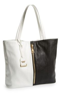 POVERTY FLATS by rian 'Super' Colorblock Faux Leather Tote | Nordstrom