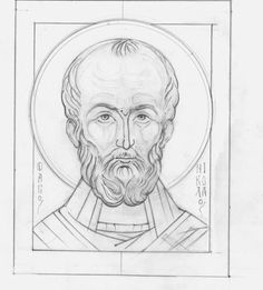 Nicolae Byzantine Art, Byzantine Icons, Drawing Course, Line Drawing, Religious Icons, Religious Art, Small Icons, Saint Nicolas, Russian Icons