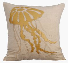 Gold Jellyfish - 16x16 Gold Leather Applique Linen Pillow. Shop Now!