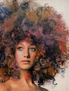 Brilliant Rainbow Afro!  Marisa Berenson by Berry Berenson, Vogue October 1970