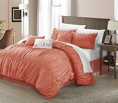 Fresca 7Piece Comforter Set Pleated and Ruffled King Size Peach Bedskirt Shams and Decorative Pillows Included ** Want additional info? Click on the affiliate link Amazon.com on image.