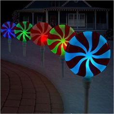 Set of 3 Solar Powered Color Changing Lights Christmas Peppermint ...