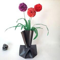 Origami Allium Flower Arrangement in Origami Vase