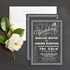 A chalkboard background and a mixture of stylish type creates this stylish wedding invitation design. Grey Wedding Stationery, Wedding Invitation Trends, Bridal Shower Invitations, Invitation Ideas, Wedding Stationary, Invites, Reception Invitations, Invitation Wording, Chalkboard Typography