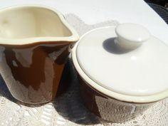 Brown Stoneware Sugar Bowl and Creamer made by AnnasRetroKitchen