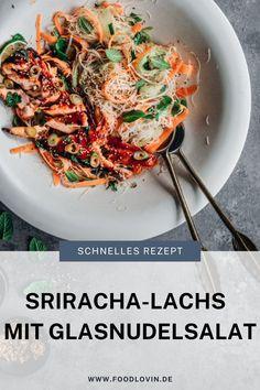 Lachs aus dem Ofen, dazu einen #einfachen Glasnudelsalat und Gemüse!