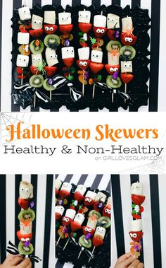 Halloween Skewers Healthy and Non-Healthy Versions Halloween Skewers Healthy and Non-Healthy Options on www.girllovesglam Source by somewhatsimple Halloween Porch, Scary Halloween Decorations, Halloween Crafts For Kids, Halloween Food For Party, Halloween Home Decor, Holidays Halloween, Halloween Treats, Holiday Crafts, Halloween Dinner