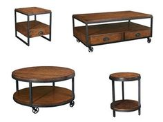 Rustic occasional tables found at Clinton Appliance & Furniture  H275. Transitional collection with simplistic lines, alluring metal & heavily distressed finish give this group an authentic hand-crafted feel.