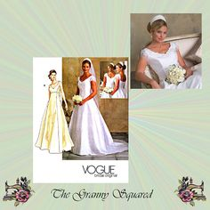 Vogue Wedding Dress with Train, Floor Length Bridal Gown,  Sleeve Options, Size 18-20-22 Bust 40-42-44, Vogue Sewing Pattern 2788 Plus Size