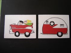"Acrylic on canvas each 8""x10"". Sold as set $60.00.  Whimsical painting of ""57 red and white Chevy with 2 characters pulling red and white Camper!   etsy.com/shop/barnyardstudio"