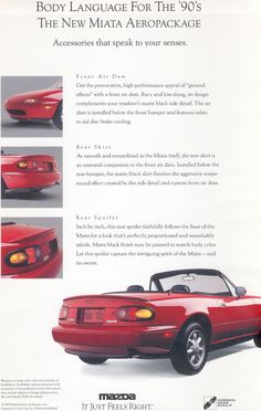 Early promo ad for the Miata Aero package later offered on the R Package specification.