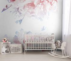 SERENITY, ROSE QUARTZ nursery floral Removable Wallpaper | pantone colors of the…
