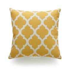 Mustard Yellow Geometric Moroccan Quatrefoil Pillow Cover