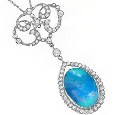 Antique style 4.16ct Opal with 1.27ct Diamonds Necklace New York Estate Jewelry Israel Rose