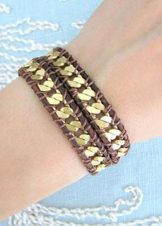 Chain Wrap Bracelet on Red Brown Leather