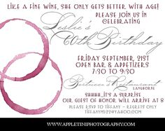 AppletiniPhotography Wine Birthday Party Invitations Adult Birthday Party, Wine Birthday, 60 Birthday, Birthday Ideas, 60th Birthday Party Invitations, Wine Parties, Invitation Ideas, Invites, Party Planning