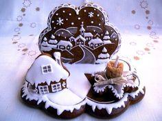Christmas Gingerbread, Gingerbread Cookies, Christmas Cookies, Biscuit Cookies, Sugar Cookies, Cookie House, Honey Cake, Cake Bars, Royal Icing