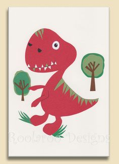 "Boys Room Decor. T-Rex Dinosaur Wall Art . Kids Print. Nursery Decor. Red Dinosaur. 8 x 10"" Red Rex"