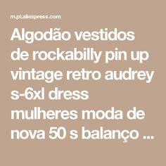 Algodão vestidos de rockabilly pin up vintage retro audrey s-6xl dress mulheres moda de nova 50 s balanço polka dots vestidos plus tamanho Loja Online | aliexpress móvel