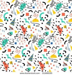 Seamless Geometric Vintage Pattern In Retro Style, Memphis. Ideal For Fabric Design, Paper Print And Website Stock Vector - Illustration of illustration, bright: 70152471 Geometric Patterns, Abstract Pattern, Men In Black, Memphis Design, Diana Ross, Fashion Mode, 80s Fashion, Conception Memphis, 90s Pattern