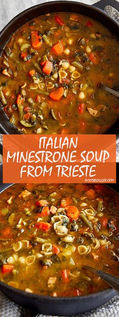 Authentic Italian Minestrone Soup from Trieste. | ifoodblogger.com #minestrone #italianminestrone #minestronesoup #italiansoup #souprecipes