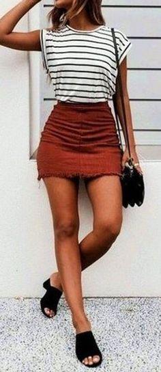 #summer #outfits striped t shirt + skirt