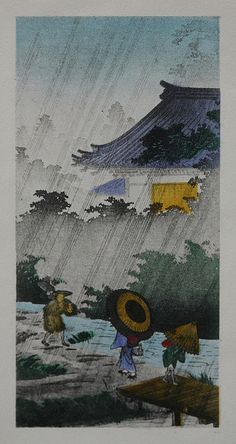 Walking in the rain Kawase Hasui