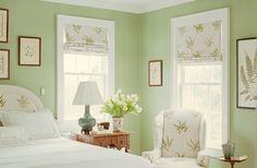 Bedroom Design : One Kings Lane Bedroom Paint Green Colors Design Color Palet Bedroom Colors Benjamin Moore Light Green Bedrooms, Green And White Bedroom, Light Green Walls, Green Rooms, Green Lights, Green Bedroom Paint, Bedroom Colors, Bedroom Yellow, Dream Bedroom