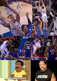 Blake Griffin's nasty dunk on Pau Gasol [04 Apr 2012]. The look on Andrew Bynum's face always makes me laugh.