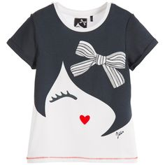 Girls navy blue and white 'face' print t-shirt by IKKS. Made in soft cotton jersey, the front has a girl's face design with a silver glitter bow. The cuffs are rolled back and the hem is stitched in contrasting bright red thread.