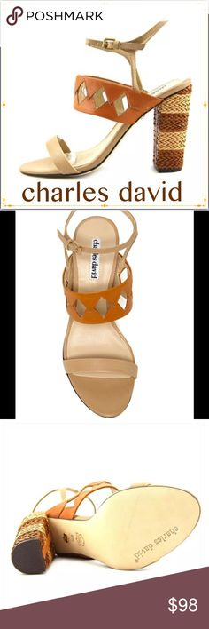 """✳️SALE✳️CHARLES DAVID Diamond Cutout Sandals CHARLES DAVID Jungle Woven Diamond Cutout Sandal, Nude/Cognac. Straps have gold tone buckles. Cognac strap features woven diamond cut out accents. The dual tone heels accentuate this sandals perfectly. Heels are 3"""" and up. Size 6 1/2M. *Compare at $225. Charles David Shoes Sandals"""